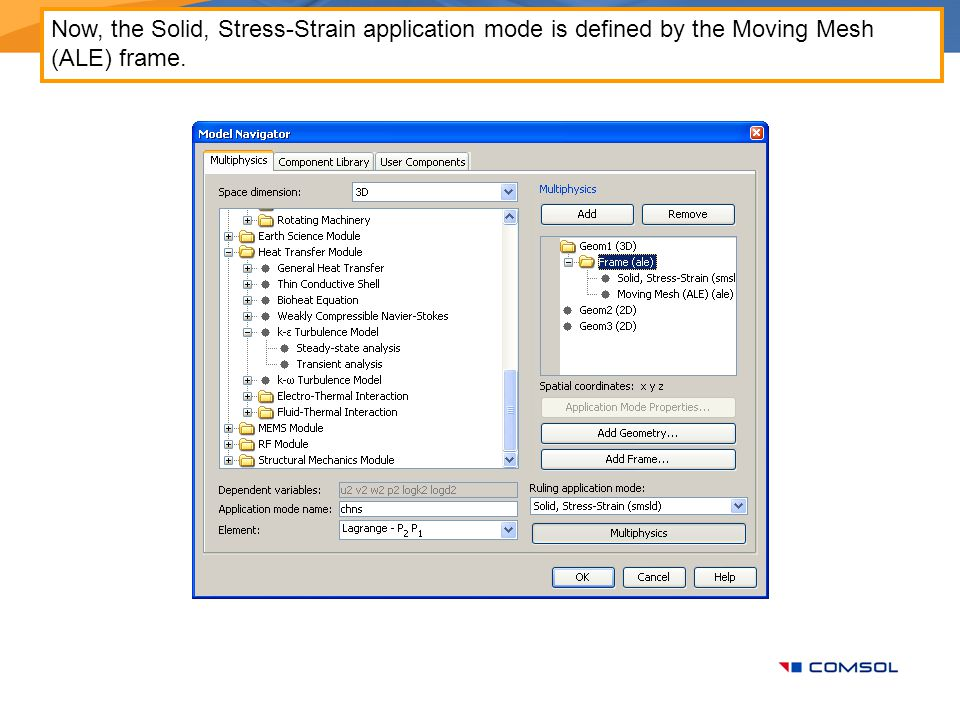 Now, the Solid, Stress-Strain application mode is defined by the Moving Mesh (ALE) frame.