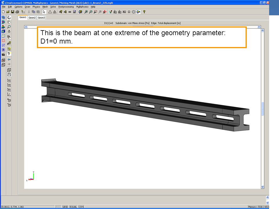 This is the beam at one extreme of the geometry parameter: D1=0 mm.