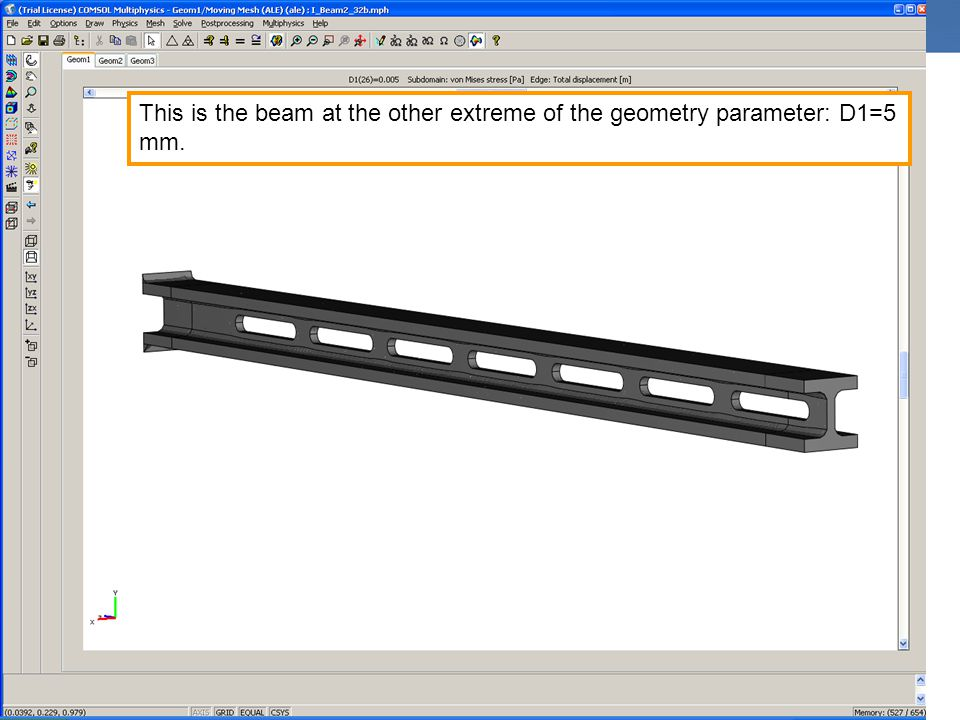 This is the beam at the other extreme of the geometry parameter: D1=5 mm.