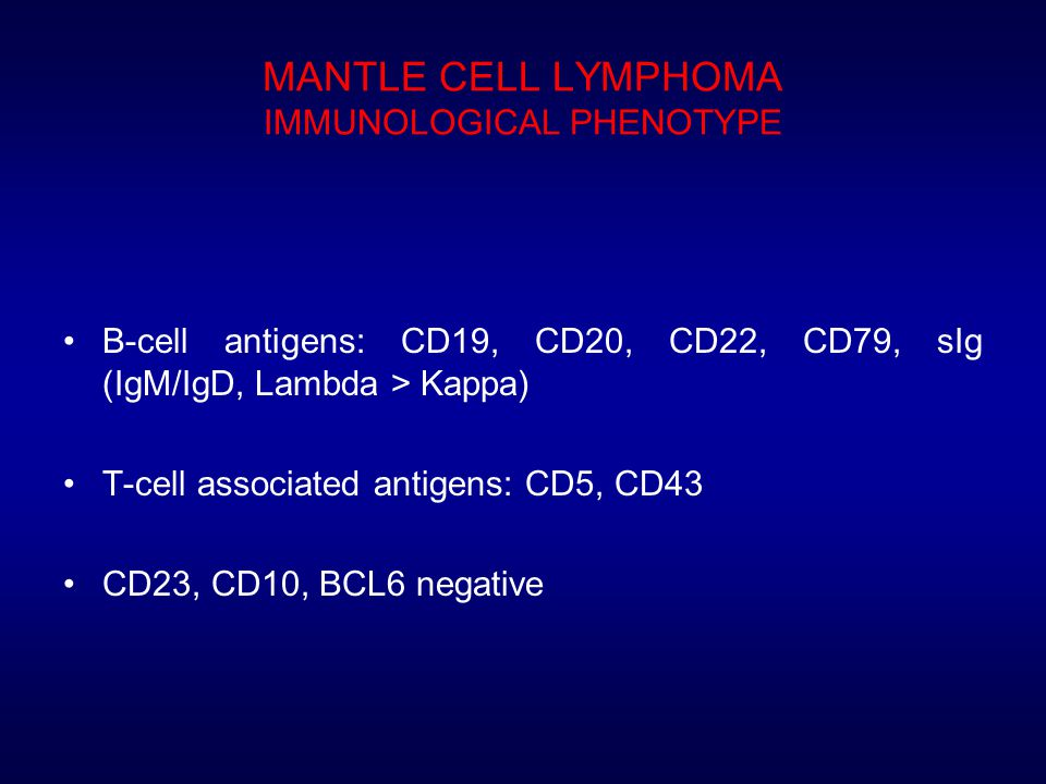 MANTLE CELL LYMPHOMA IMMUNOLOGICAL PHENOTYPE