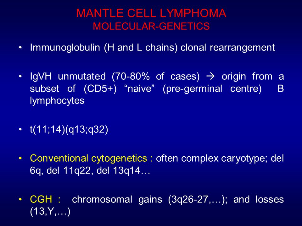 MANTLE CELL LYMPHOMA MOLECULAR-GENETICS