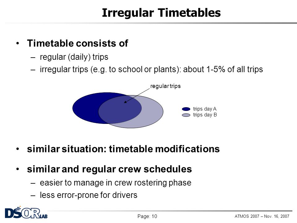 Irregular Timetables Timetable consists of