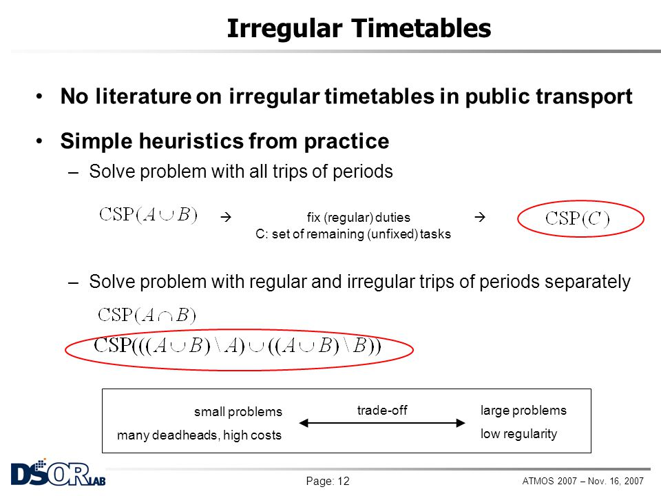 Irregular Timetables No literature on irregular timetables in public transport. Simple heuristics from practice.