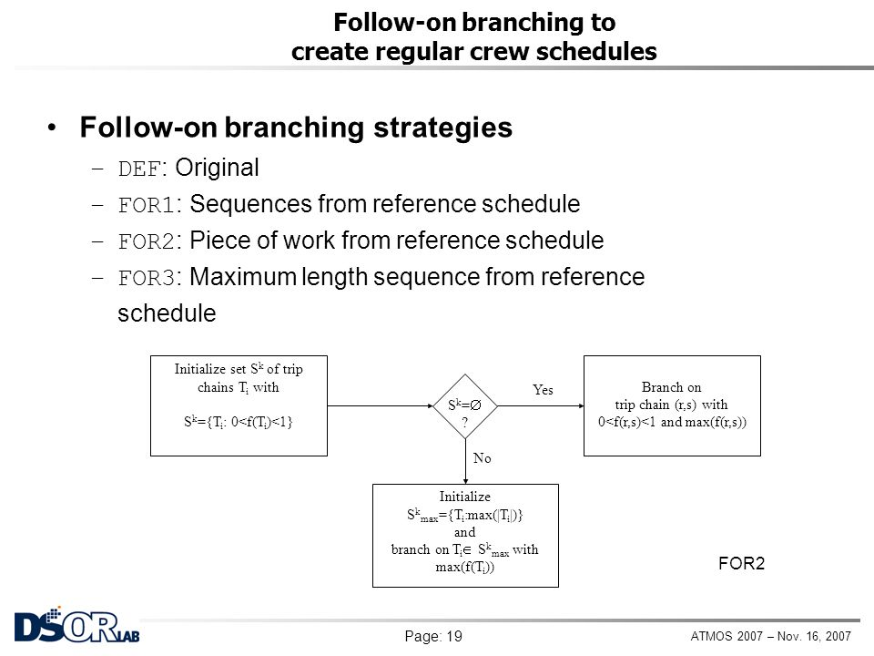 Follow-on branching to create regular crew schedules