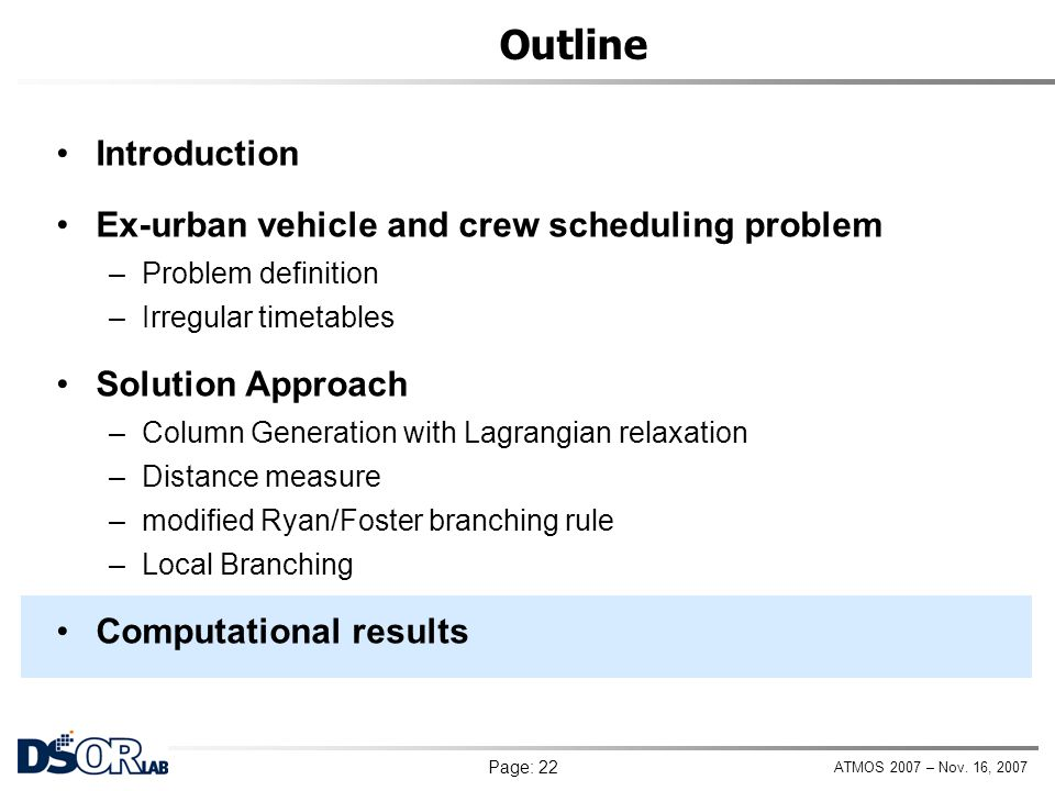 Outline Introduction Ex-urban vehicle and crew scheduling problem