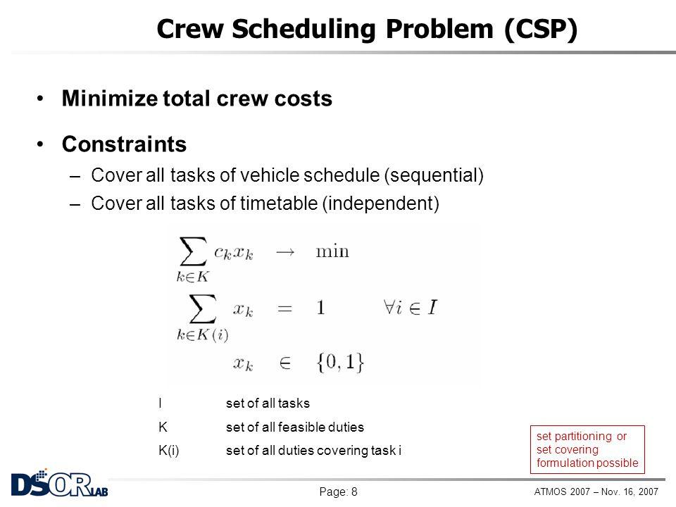 Crew Scheduling Problem (CSP)