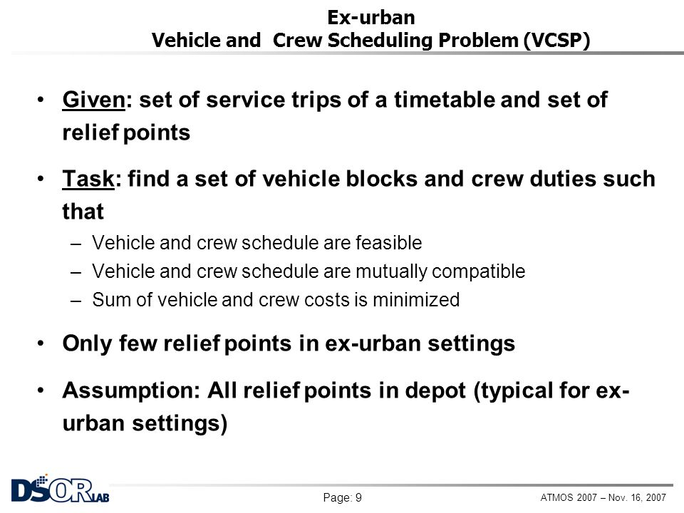 Ex-urban Vehicle and Crew Scheduling Problem (VCSP)