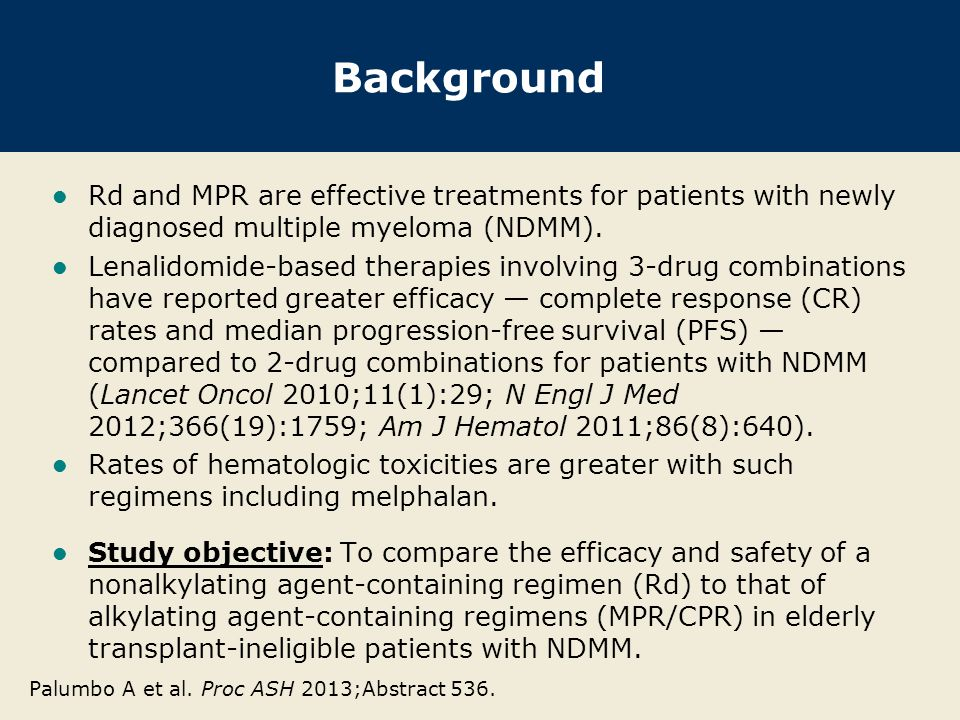 Background Rd and MPR are effective treatments for patients with newly diagnosed multiple myeloma (NDMM).