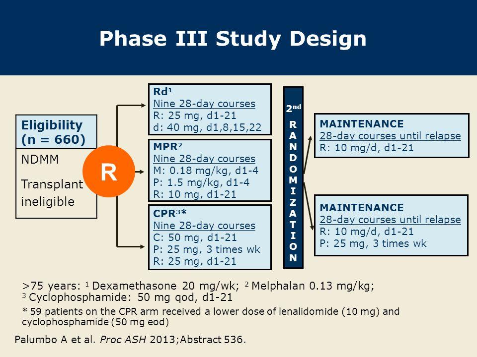 R Phase III Study Design Eligibility (n = 660) NDMM