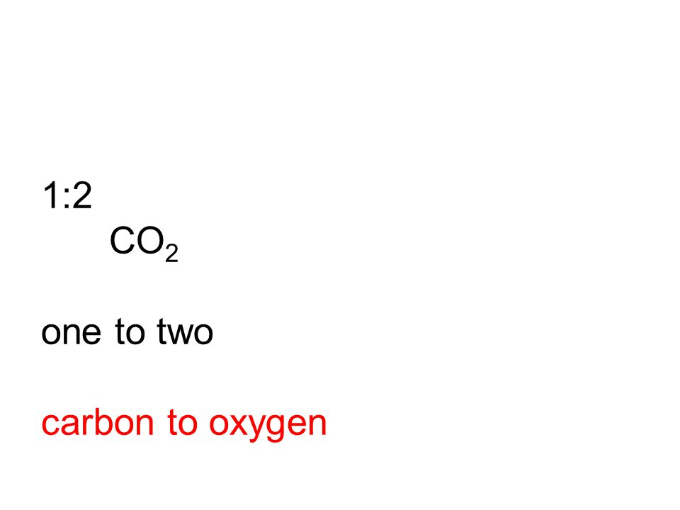 1:2 CO2 one to two carbon to oxygen