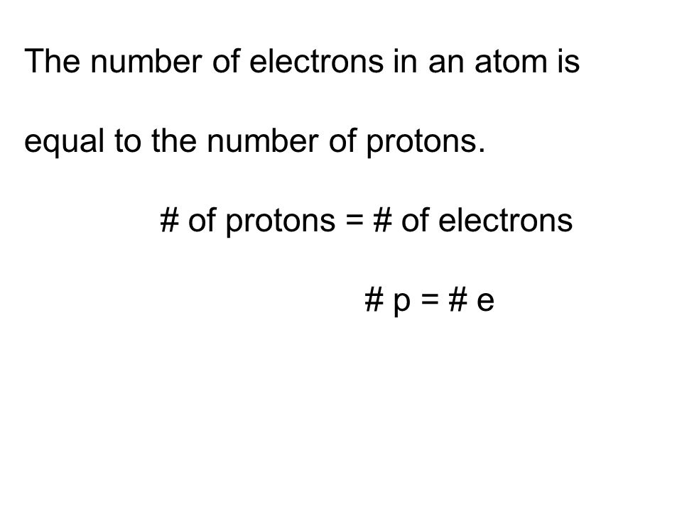 The number of electrons in an atom is
