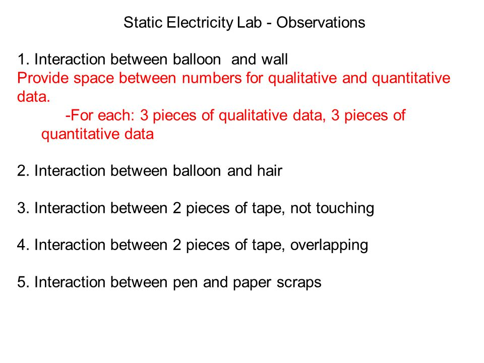 Static Electricity Lab - Observations