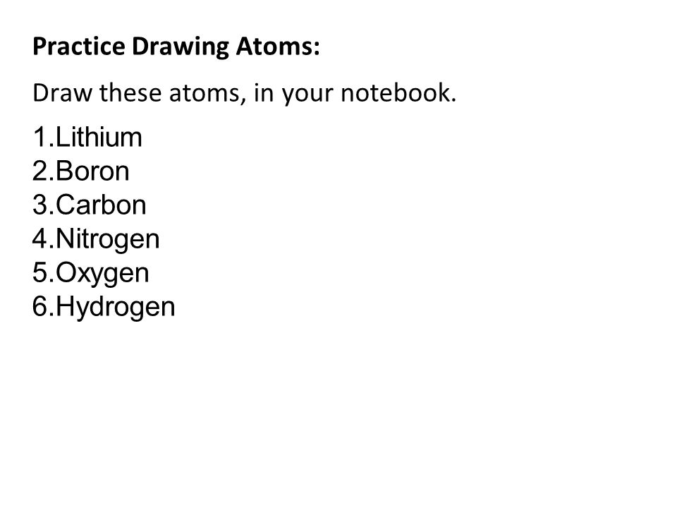 Practice Drawing Atoms:
