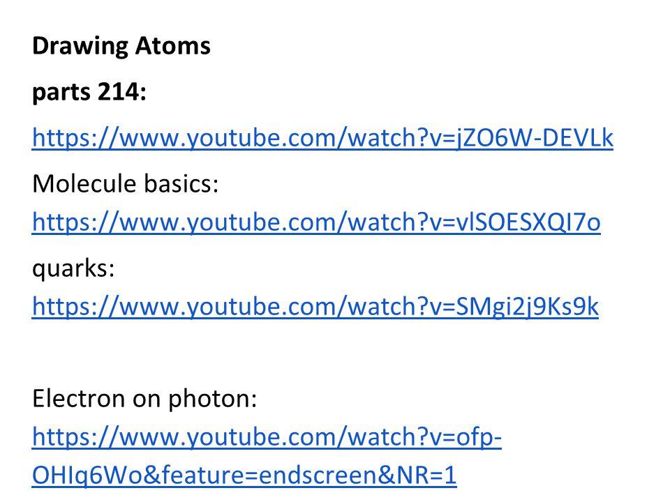 Drawing Atoms parts 214: https://www.youtube.com/watch v=jZO6W-DEVLk. Molecule basics: https://www.youtube.com/watch v=vlSOESXQI7o.