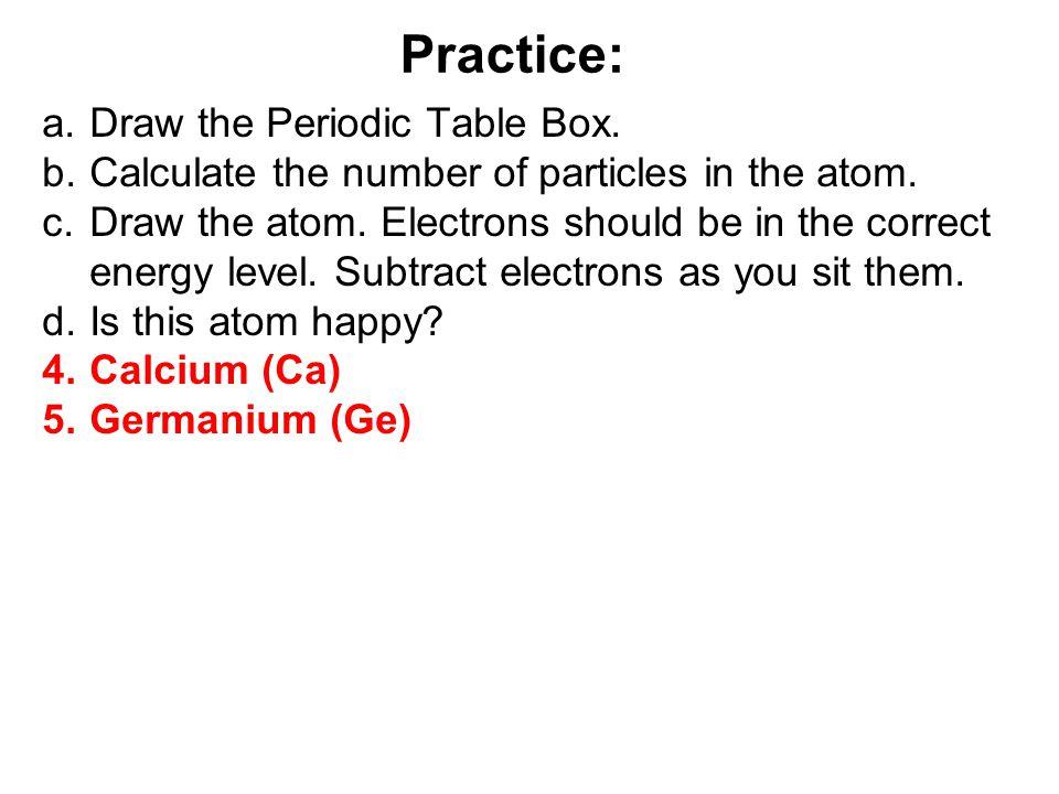 Practice: Draw the Periodic Table Box.