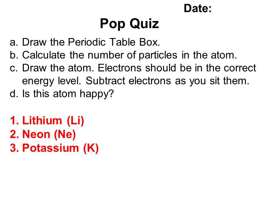 Name: Date: Pop Quiz Lithium (Li) Neon (Ne) Potassium (K)