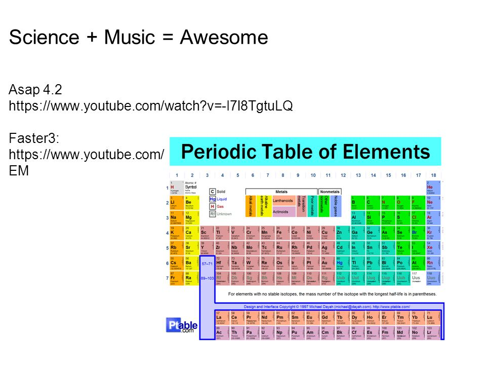 Science + Music = Awesome Asap 4. 2 https://www. youtube. com/watch