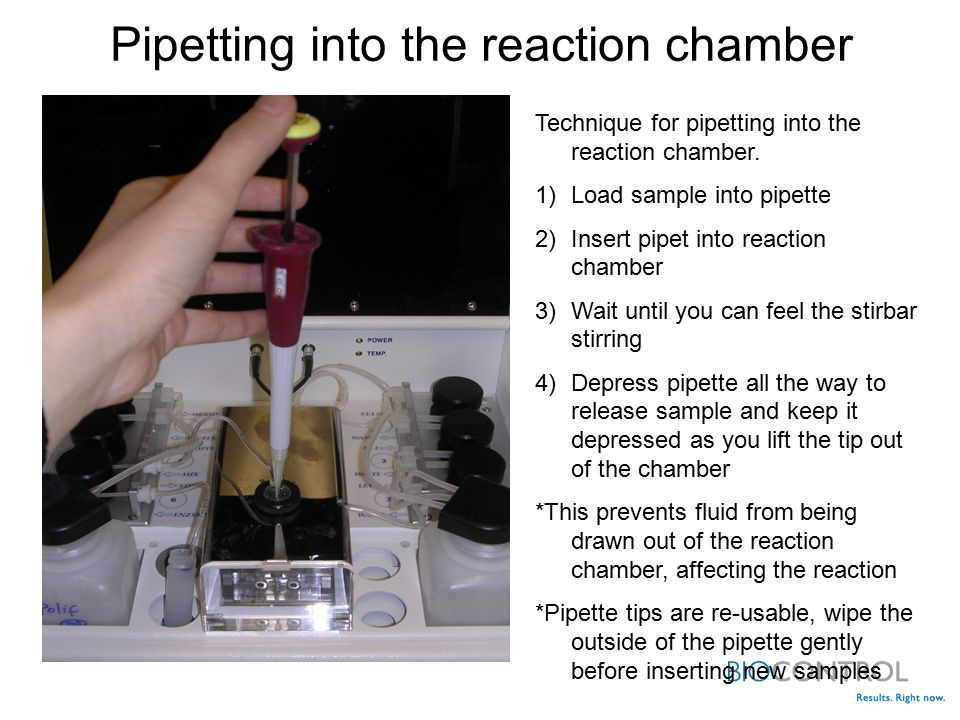 Pipetting into the reaction chamber