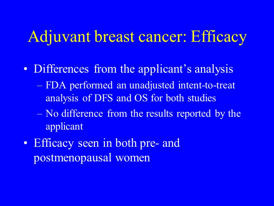 Adjuvant breast cancer: Efficacy