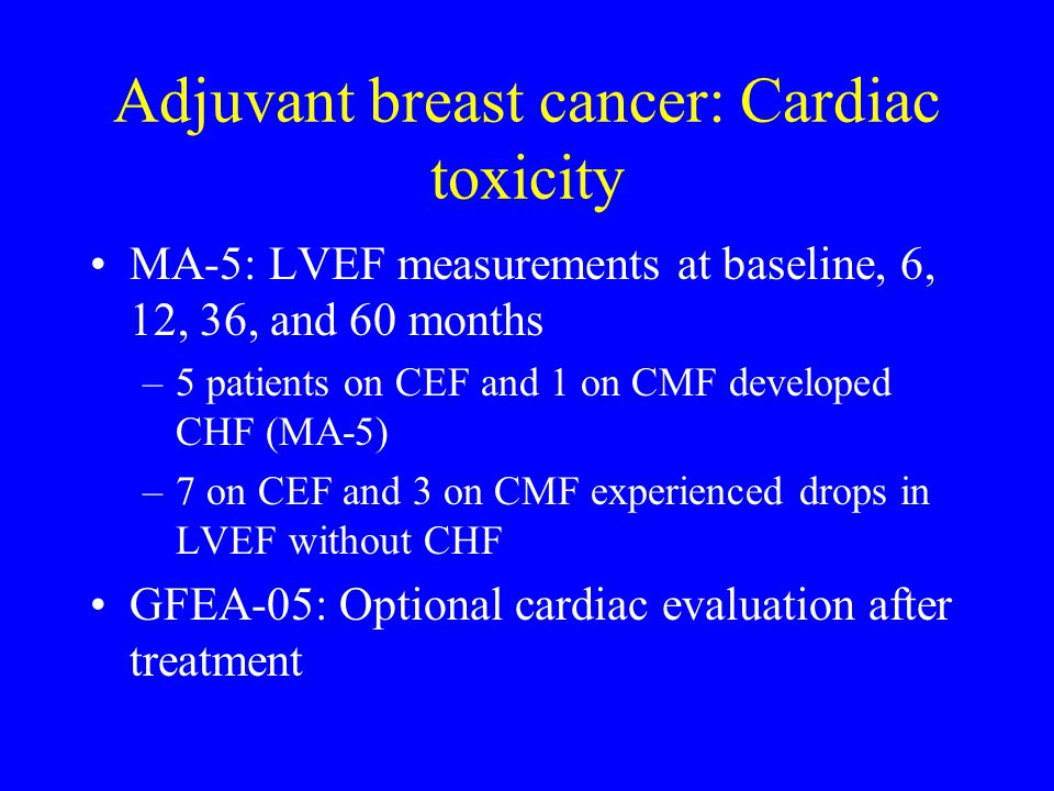 Adjuvant breast cancer: Cardiac toxicity