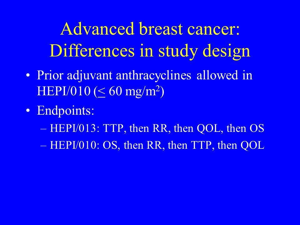 Advanced breast cancer: Differences in study design
