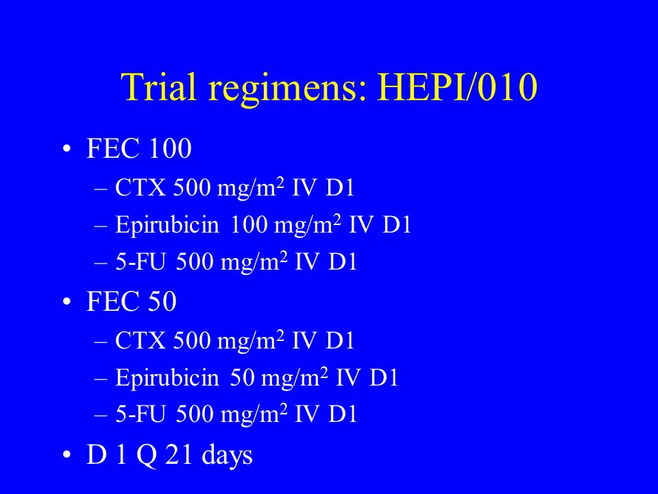 Trial regimens: HEPI/010 FEC 100 FEC 50 D 1 Q 21 days