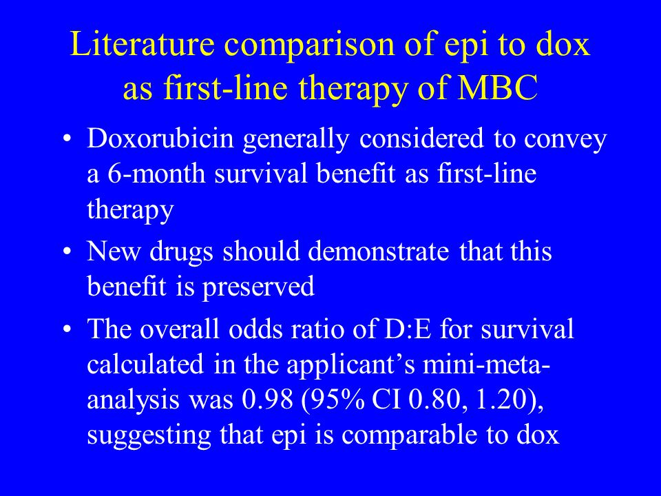 Literature comparison of epi to dox as first-line therapy of MBC