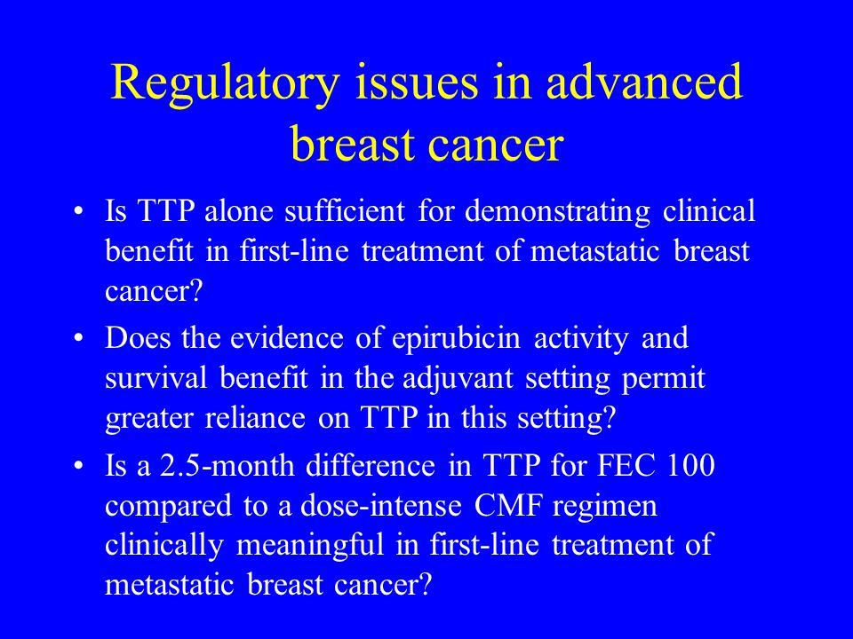 Regulatory issues in advanced breast cancer