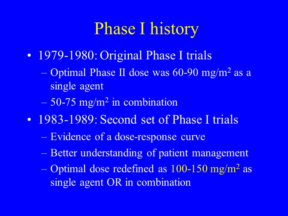 Phase I history 1979-1980: Original Phase I trials