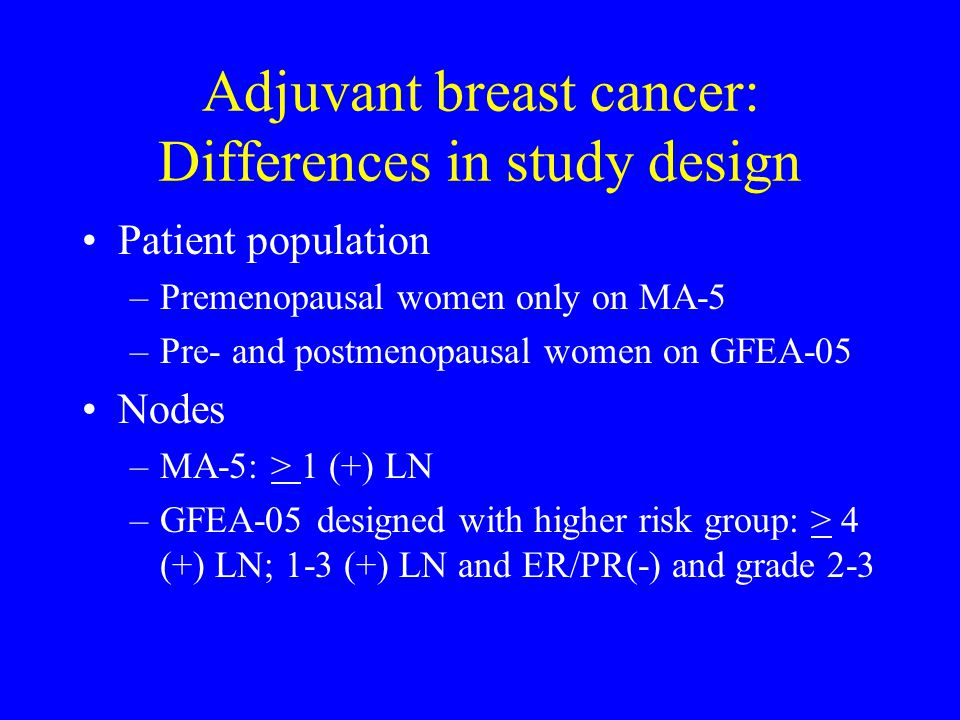 Adjuvant breast cancer: Differences in study design