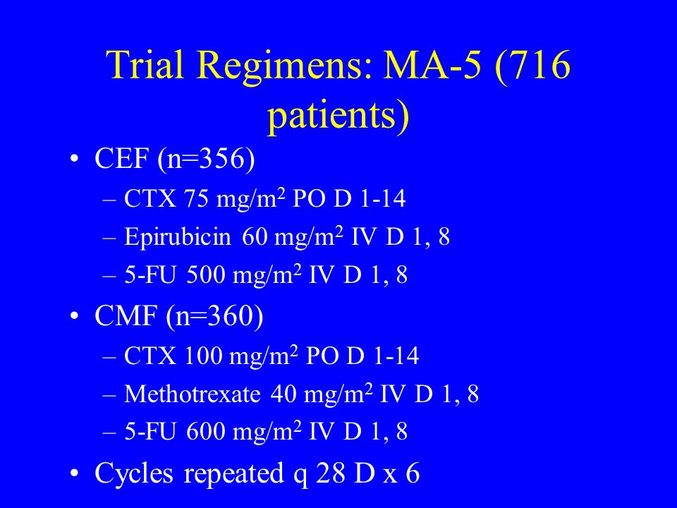 Trial Regimens: MA-5 (716 patients)