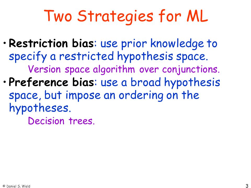 Two Strategies for ML Restriction bias: use prior knowledge to specify a restricted hypothesis space.