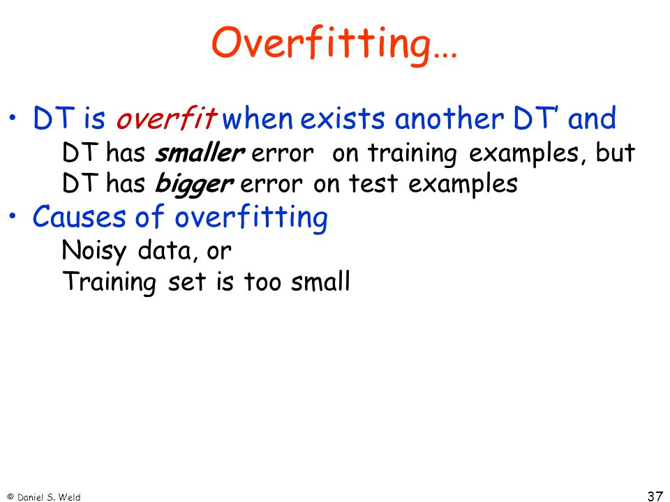 Overfitting… DT is overfit when exists another DT' and