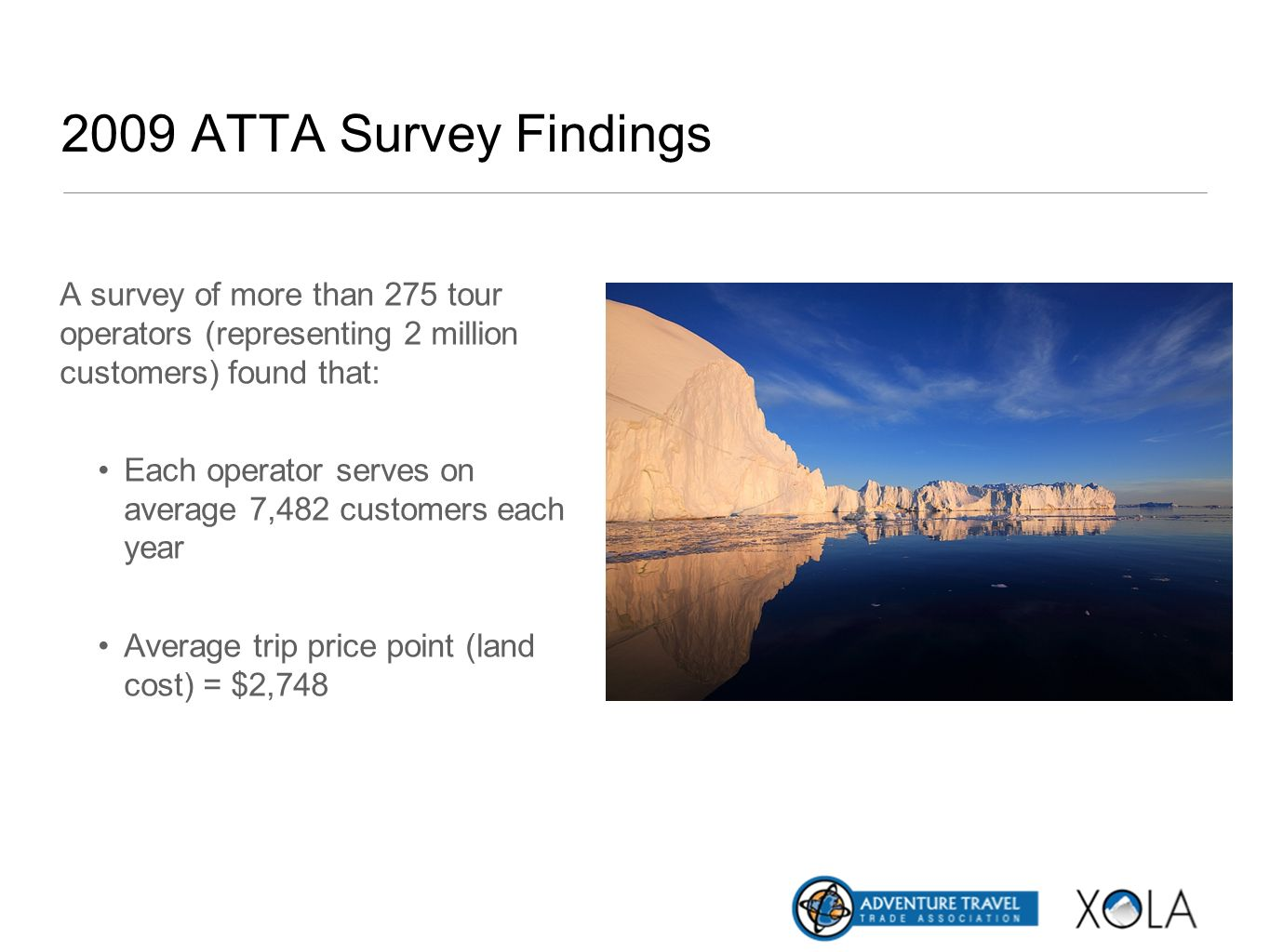 2009 ATTA Survey Findings A survey of more than 275 tour operators (representing 2 million customers) found that: