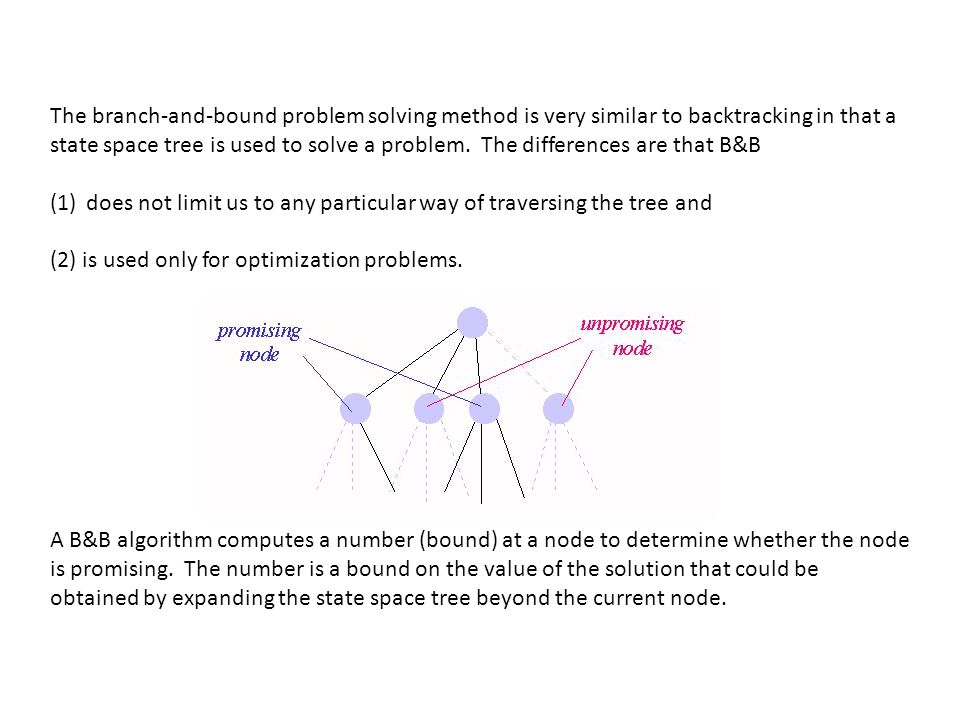 The branch-and-bound problem solving method is very similar to backtracking in that a state space tree is used to solve a problem. The differences are that B&B