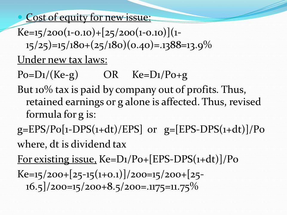 Cost of equity for new issue: