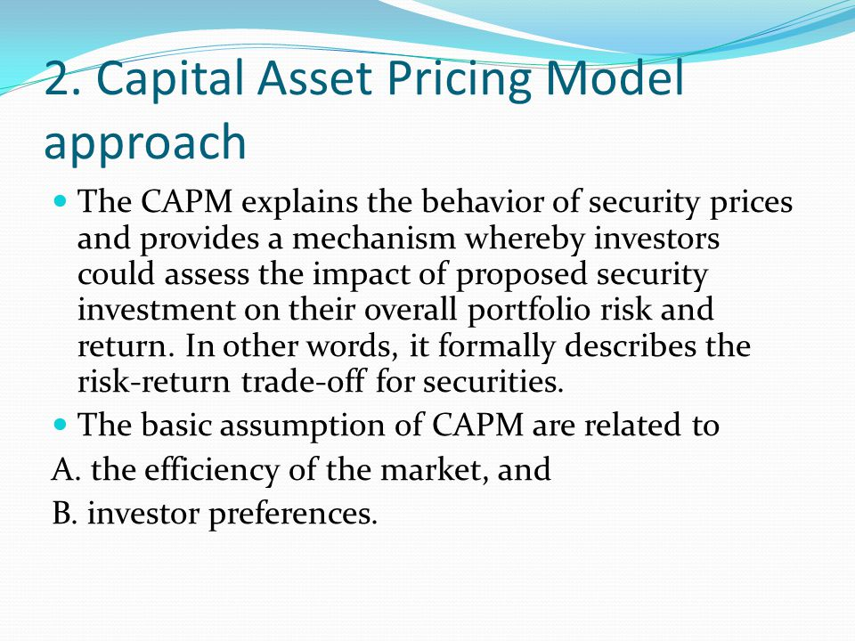 2. Capital Asset Pricing Model approach