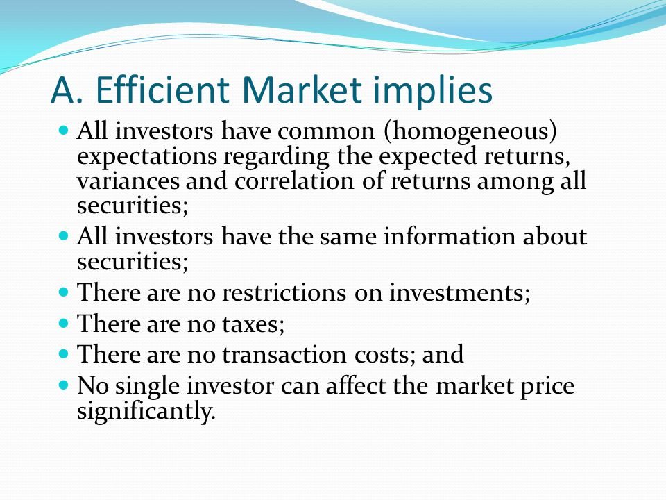 A. Efficient Market implies