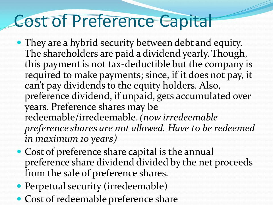Cost of Preference Capital