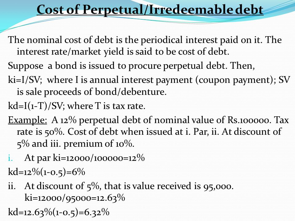 Cost of Perpetual/Irredeemable debt