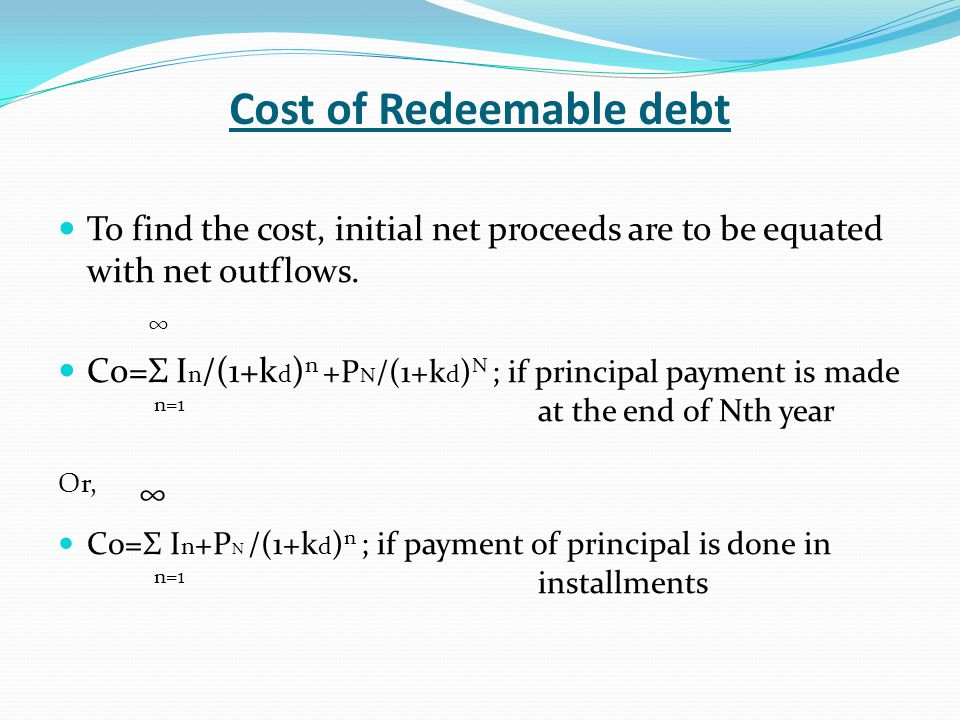 Cost of Redeemable debt