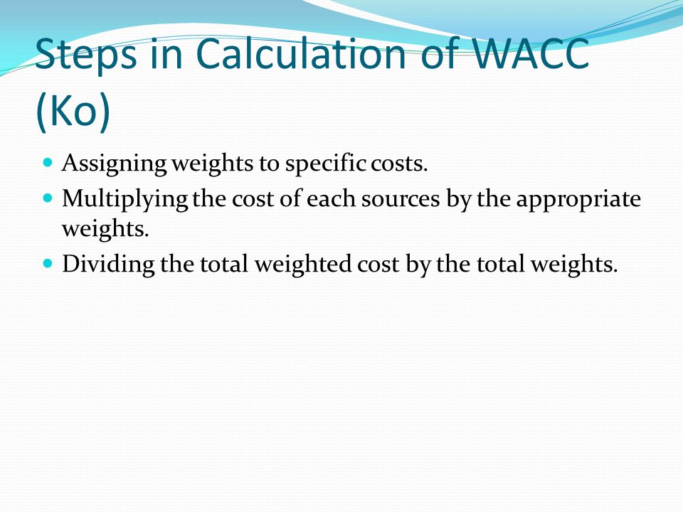 Steps in Calculation of WACC (Ko)