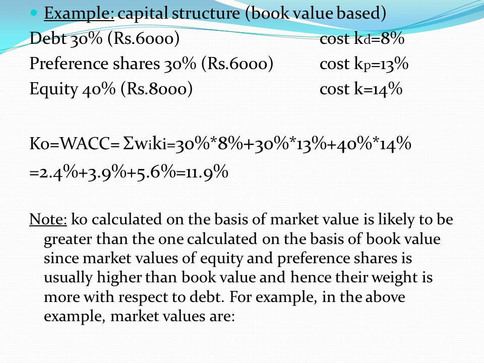 =2.4%+3.9%+5.6%=11.9% Example: capital structure (book value based)