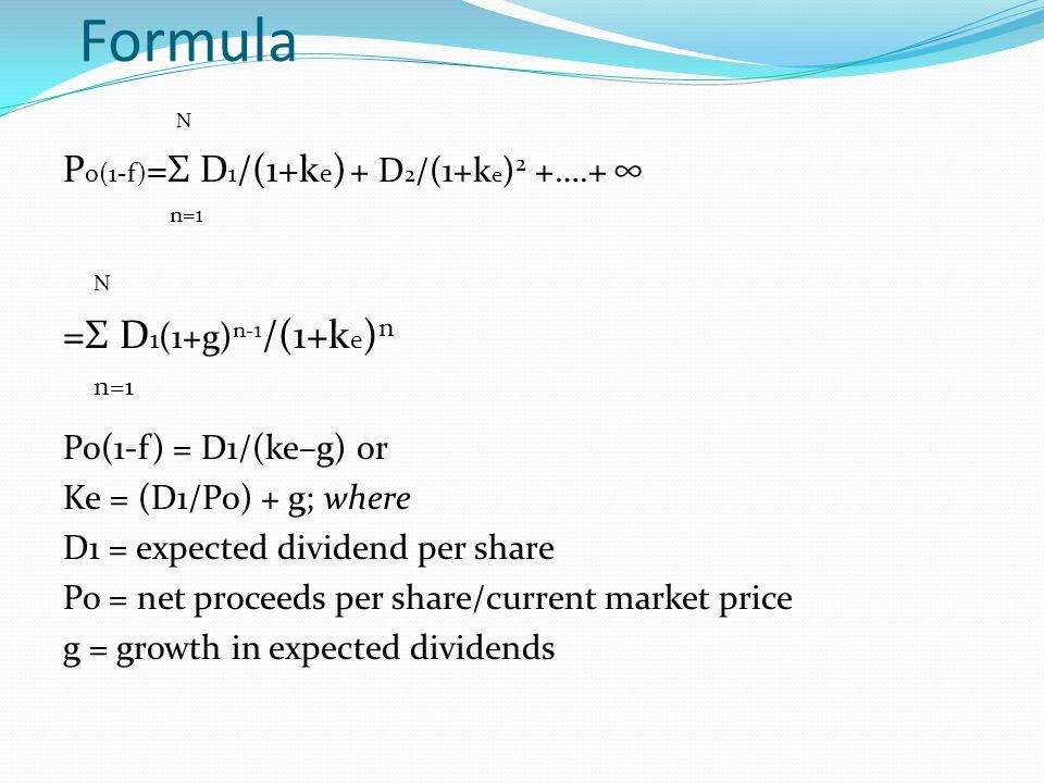 Formula =Σ D1(1+g)n-1/(1+ke)n N