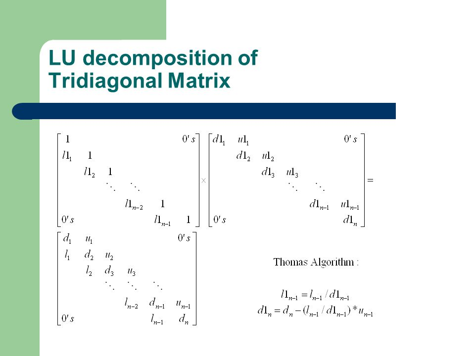 LU decomposition of Tridiagonal Matrix