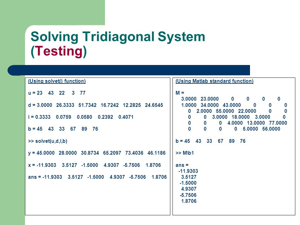 Solving Tridiagonal System (Testing)