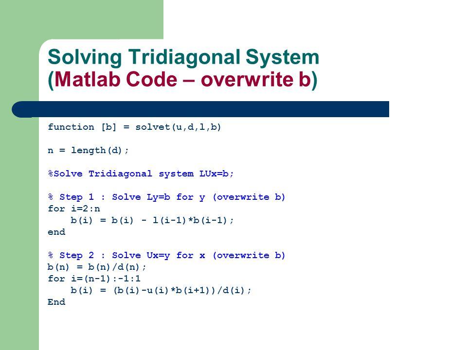 Solving Tridiagonal System (Matlab Code – overwrite b)