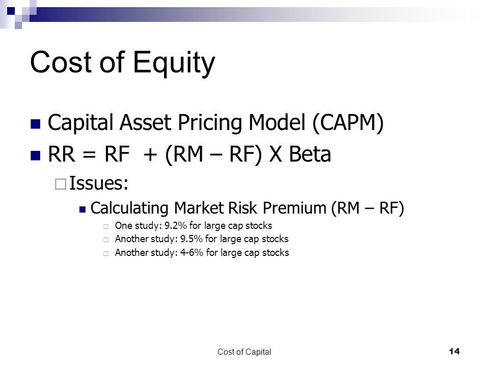 Cost of Equity Capital Asset Pricing Model (CAPM)