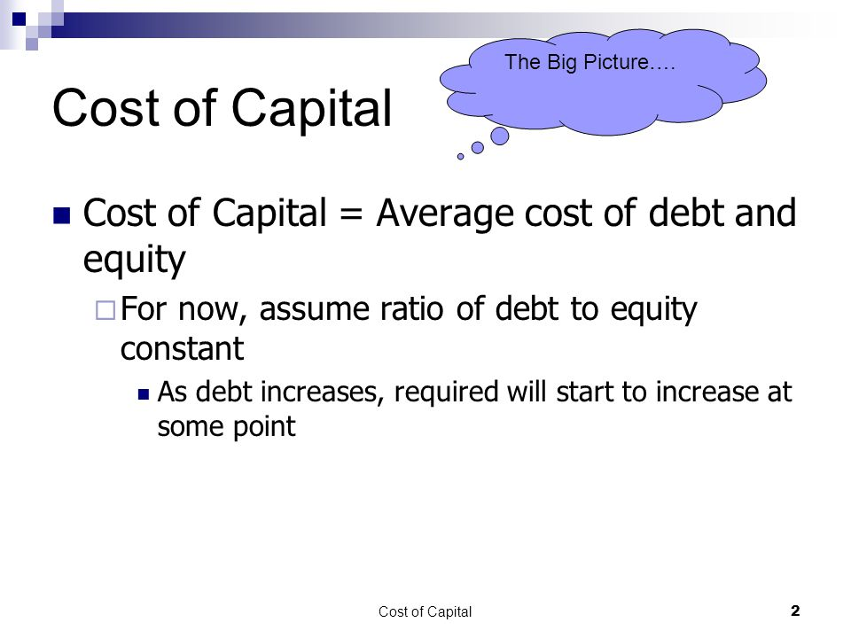 Cost of Capital Cost of Capital = Average cost of debt and equity