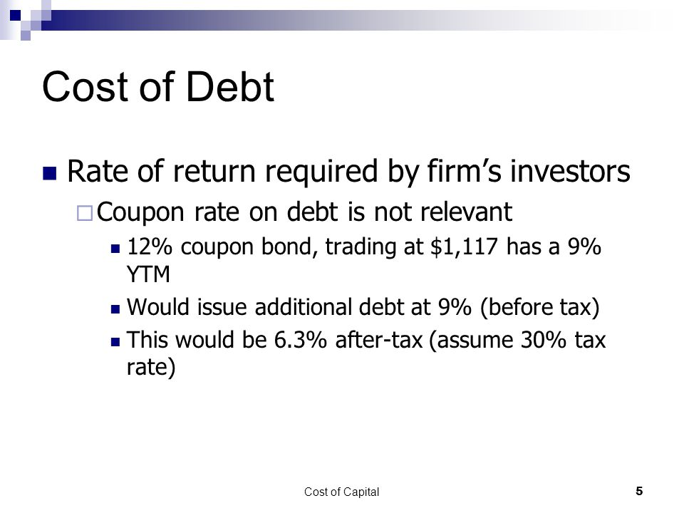Cost of Debt Rate of return required by firm's investors